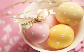 Wallpaper holiday, eggs, yellow, plate, Easter, tape, pink, bow, Easter, Easter