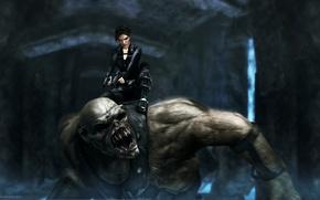 Picture guns, monster, Tomb Raider, underworld, Lara Croft