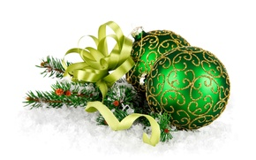 Picture decoration, balls, New Year, Christmas, balls, snow, New Year, decoration