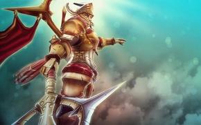 Picture girl, weapons, armor, warrior, art, Dota 2, Tresdin, Legion Commander