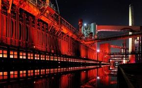 Picture night, lights, plant, industry, industry, Germany, North Rhine-Westphalia, Essen