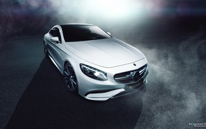 Picture Mercedes-Benz, Car, Front, AMG, Coupe, White, S63, Ligth