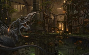 Picture trees, bridge, the city, the moon, dragon, monster, being, art, ucchiey, if kazama uchio