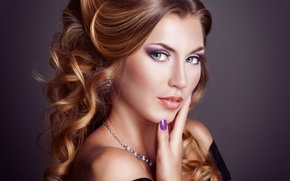 Picture look, girl, background, hair, hands, makeup, dress, black, hairstyle, shoulders