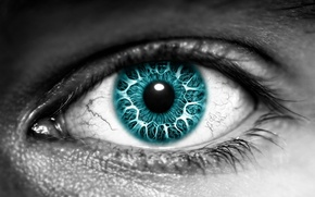 Picture eyes, color, black and white, the pupil