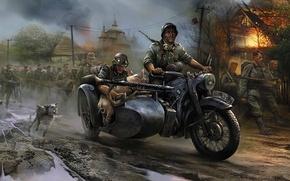 Wallpaper fire, war, dog, BMW, motorcycle, Church, pig, machine gun, The Germans, invasion