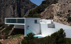 Picture mountains, house, Villa, architecture