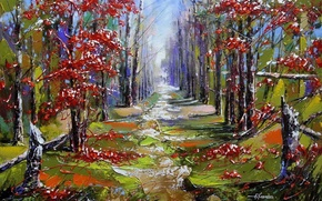 Picture forest, leaves, trees, landscape, berries, perspective, picture, spot, painting, alley, Rowan, Khodukov, spatula