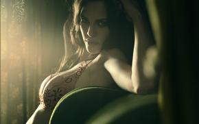Picture light, girl, breast