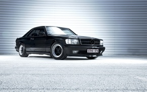 Picture Mercedes, black, benz, coupe, с126