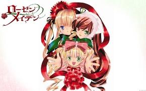 Picture smile, white background, bow, cap, rozen maiden, three, different eyes, shinku, Kapor, hinaichigo, suiseiseki