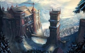 Picture snow, mountains, bridge, castle, fantasy, art, tower, fantasy, tower, bridge, art, mountains, snow, A Song …