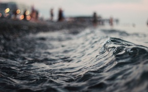 Picture wave, water, macro, lights, the evening, horizon, bokeh