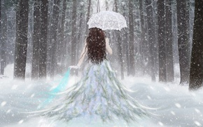 Wallpaper Forest, Snow, Girl, Umbrella