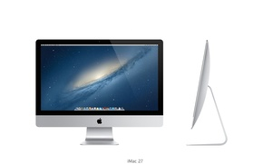 Picture Apple, galaxy, Dock, thin, OS X Mountain Lion, iMac 27 inch, ultra, core i7, my …
