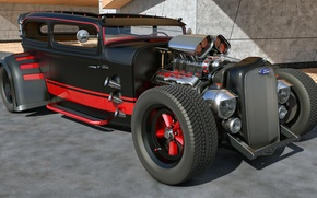 Picture machine, design, tuning, ford, hot rod, custom, rendering, samcurry