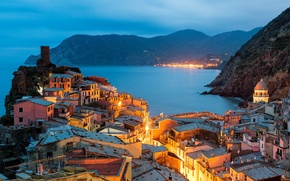 Picture lighting, coast, the city, lights, Vernazza, the evening, building, Italy, Italy, nature, home, Vernazza, The ...