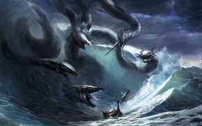 Picture wave, storm, fantasy, the ocean, danger, ship, the situation, art, Hydra