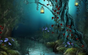 Picture forest, flowers, night, nature, river, stream, lamp, roses, lights, Fantasy, forest, river, nature, night, flowers, …