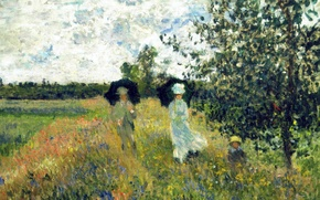 Wallpaper nature, picture, Claude Monet, The walk at Argenteuil