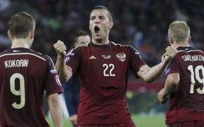 Picture joy, football, Russia, Russia, goal, football, Team, Dzyuba, Artem Dzyuba, national team, Smolnikov, Kokorin