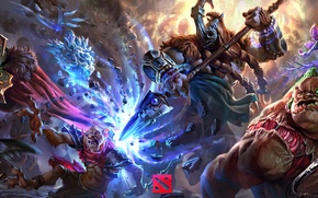 Picture dota 2, pudge, magnus, bounty hunter, moba, Wraith King, Ancient Apparition
