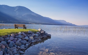 Picture mountains, Canada, bench, British Columbia, lake Columbia