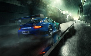 Picture drops, rain, 911, Porsche, Porsche, GT3, rear, containers, RSR, Falken Motorsports