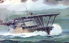 Picture sea, wave, figure, art, the carrier, WW2, The Navy of Japan, IJF, Akagi, Akagi