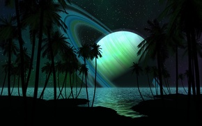 Wallpaper ring, sea, trees, shore, planet, stars