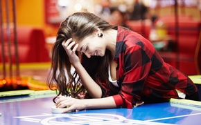 Picture girl, face, smile, background, hair, hands, shirt, Darina, air hockey