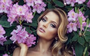 Picture girl, flowers, model, blonde, girl, flowers, model, blonde