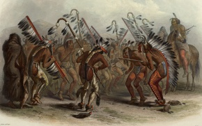 Picture picture, painting, painting, Karl Bodmer, Bodmer, 1843, dance of the mandan indians