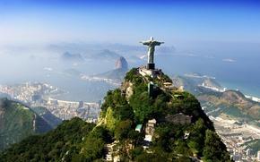 Picture clouds, mountains, the city, statue, Brazil, Jesus Christ, Savior