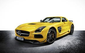 Picture Yellow, Machine, Mercedes, Car, Car, Mercedes Benz, SLS, Wallpapers, Yellow, Beautiful, Wallpaper, The front, SLS