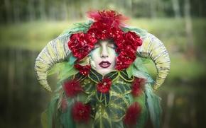 Wallpaper style, mask, girl