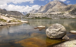 Wallpaper Wyoming, Bridger National Forest, Lower Titcomb Basin, mountains, mountain, the sky, river, stones