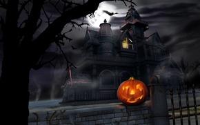 Wallpaper pumpkin, Halloween, castle