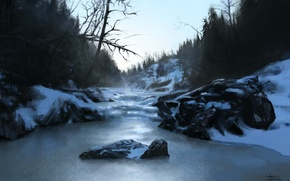 Picture winter, forest, snow, nature, river, stones, hills, art