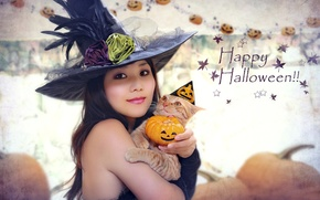 Wallpaper CAT, HAT, PUMPKIN, HALLOWEEN, COSTUME, GIRL, ASIAN