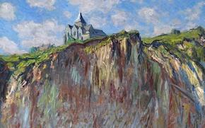 Picture landscape, rock, picture, Claude Monet, The Church in Varengeville
