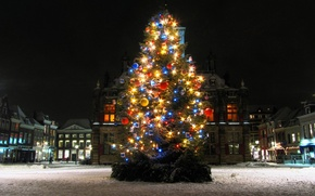 Picture lights, holidays, Christmas, square, night, winter, snow, tree, houses, New Year, streets, buildings, Christmas tree, ...