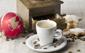 Picture ball, coffee, grain, New Year, cookies, spoon, Cup, cappuccino, coffee grinder