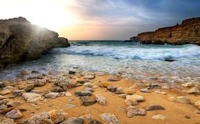 Picture sand, sea, stones, rocks, coast, surf