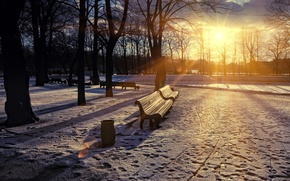 Picture sunset, the city, Park, spring, bench