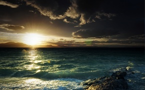 Picture sea, wave, the sun, mountains, clouds, glare, stone, Bay