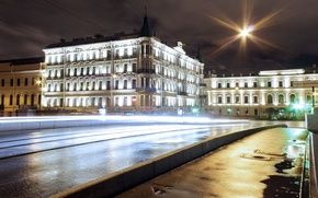 Picture road, night, lights, street, Peter, lights, Saint Petersburg, night, Saint-Petersburg, Fontanka