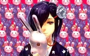 Picture girl, Rabbit, mask, Art, Tokyo ghoul, Tokyo ghoul, Kirishima Toka