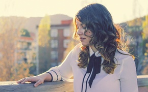 Picture trees, tree, hair, building, mountain, lips, trees, wood, mountain, bokeh, bokeh, lips, hair, buildings