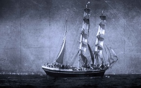 Picture sea, style, background, ship